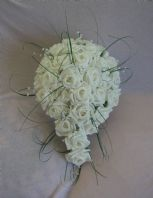 ARTIFICIAL WEDDING FLOWERS WHITE FOAM ROSE BRIDE SHOWER TEARDROP BOUQUET